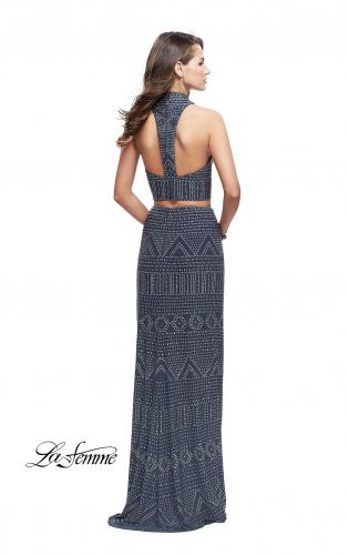 Picture of: Two Piece Form Fitting Prom Dress with Stud Beading, Style: 26045, Back Picture