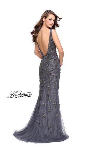 Picture of: Form Fitting Prom Dress with Metallic Beading and V Neck, Style: 26054, Back Picture