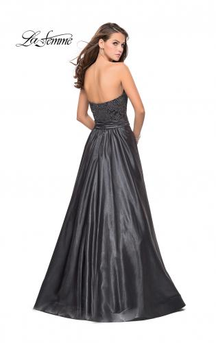 Picture of: Metallic Lace Satin A-line Gown with Pockets, Style: 26151, Back Picture