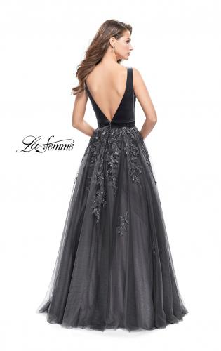 Picture of: A-line Prom Gown with Tulle Skirt and Velvet Bodice, Style: 26382, Back Picture