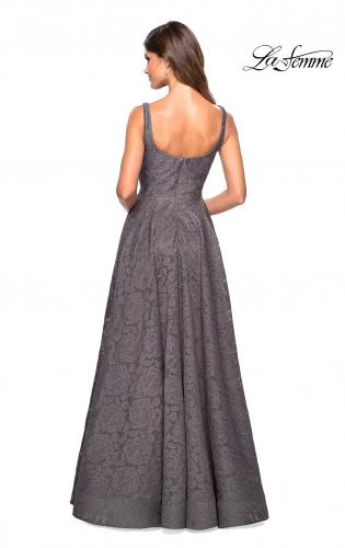 ... Main Picture of  Long Lace Prom Dress with Attached Shorts 0ef090a0e5de