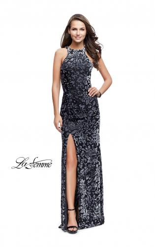 Picture of: Long Velvet Patterned Dress with Open Strappy Back, Style: 25512, Detail Picture 1