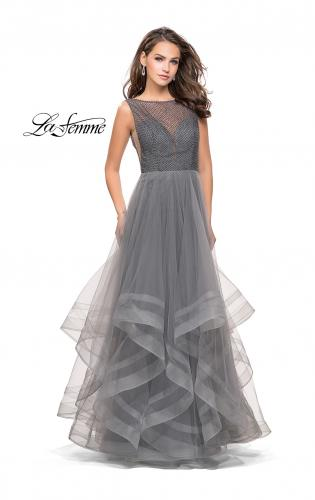 Picture of: Ball Gown with Ruffle Tulle Skirt and Beading, Style: 25620, Detail Picture 1