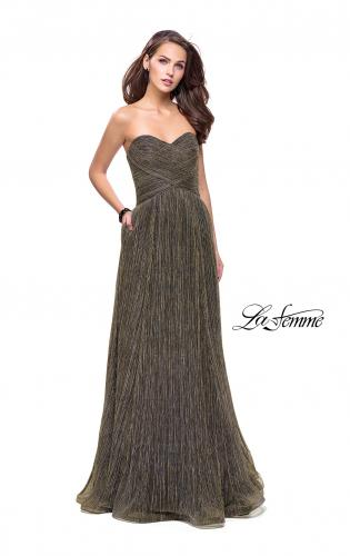 Picture of: Pleated Lame A-line Prom Dress with Ruched Bodice, Style: 25886, Detail Picture 1