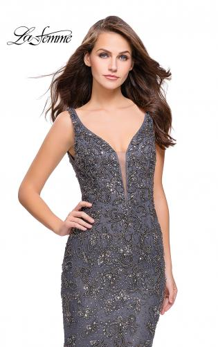 Picture of: Form Fitting Prom Dress with Metallic Beading and V Neck, Style: 26054, Detail Picture 1
