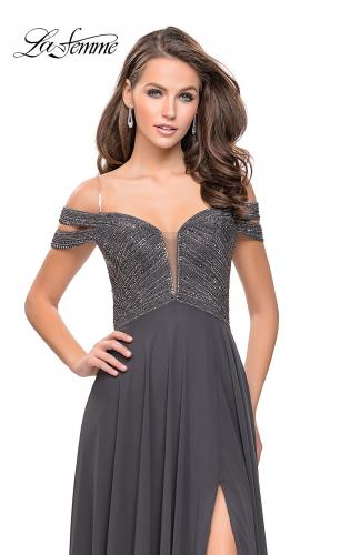 Picture of: A-Line Prom Gown with Beaded Bodice and Chiffon Skirt, Style: 26059, Detail Picture 1
