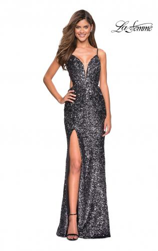 3204517b88db ... Picture of: sequin Prom Gown with Cut Out Back and Slit, Style: 27191  ...