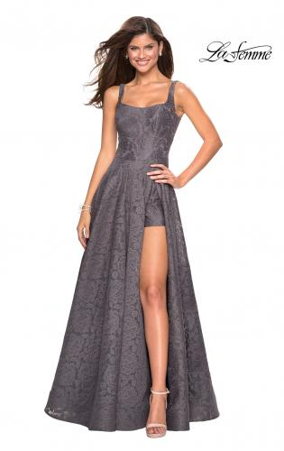 2eed5648905c ... Back Picture of: Long Lace Prom Dress with Attached Shorts, Style:  27476, ...