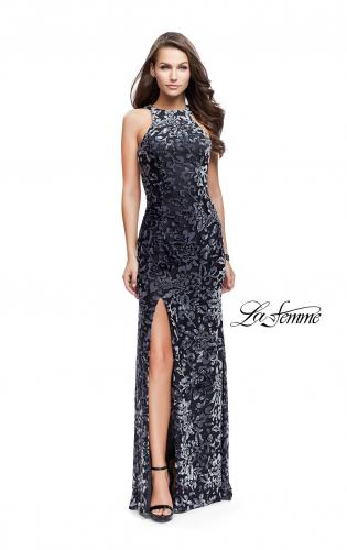 Picture of: Long Velvet Patterned Dress with Open Strappy Back, Style: 25512, Detail Picture 2