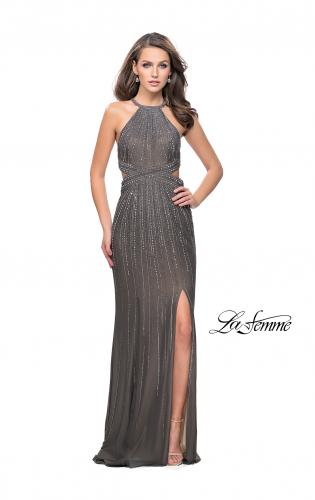 Picture of: Metallic Beaded Prom Dress with High Neck and Cut Outs, Style: 26057, Detail Picture 2