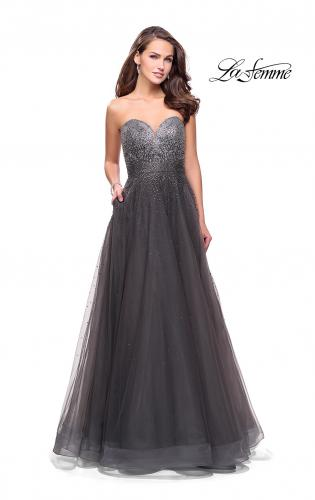 Picture of: Long Strapless Ball Gown with Metallic Ombre Rhinestones, Style: 26264, Detail Picture 2
