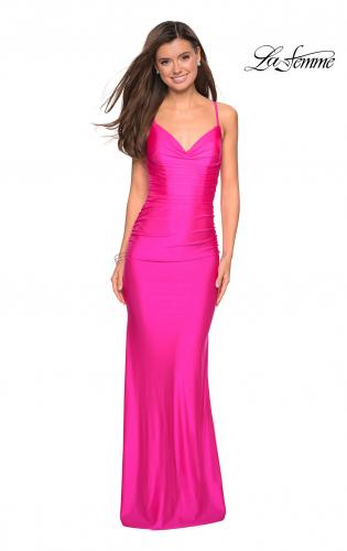 774dd21861 ... Picture of: Form Fitting Jersey Dress with Ruching and Strappy Back,  Style: 27501 ...