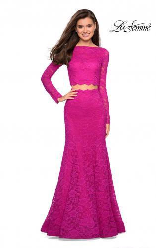 a5e7b97980aac ... Picture of: Stretch Lace Long Sleeve Two Piece Prom Dress, Style:  27601, ...
