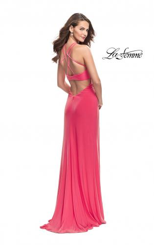 Picture of: Long Jersey Prom Dress with Strappy Open Back, Style: 25736, Back Picture