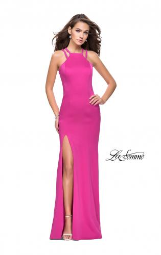 Picture of: Classic Long Evening Gown with Beaded Straps and Slit, Style: 25540, Detail Picture 1