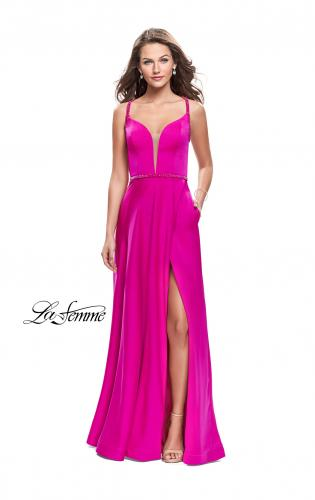 Picture of: A-line Satin Prom Dress with Wrap Side Leg Slit, Style: 26329, Main Picture