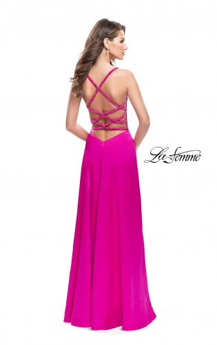 Picture of: A-line Satin Prom Dress with Wrap Side Leg Slit, Style: 26329, Back Picture
