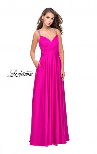 Picture of: Satin A-line Prom Dress with Beading and an Open Back, Style: 25611, Detail Picture 2