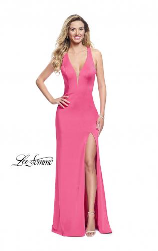 Picture of: Form Fitting Halter Prom Dress with Caged Open Back, Style: 25612, Detail Picture 2