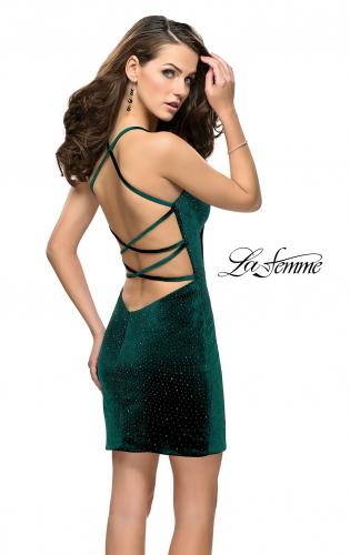 Picture of: Rhinestone Short Velvet Homecoming Dress with Open Back, Style: 26620, Main Picture