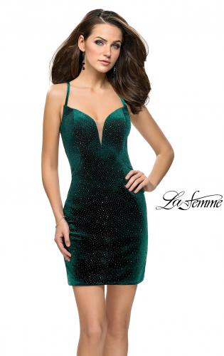 Picture of: Rhinestone Short Velvet Homecoming Dress with Open Back, Style: 26620, Back Picture