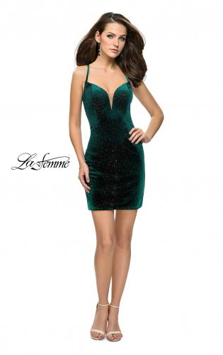 Picture of: Rhinestone Short Velvet Homecoming Dress with Open Back, Style: 26620, Detail Picture 2