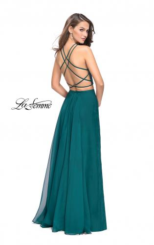 Picture of: Long Chiffon Two Piece Prom Dress with Metallic Beading, Style: 26002, Back Picture