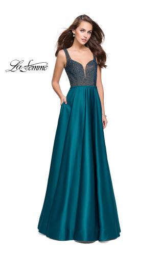 Picture of: Long Satin Dress with A Line Skirt and Beaded Top, Style: 25348, Detail Picture 1