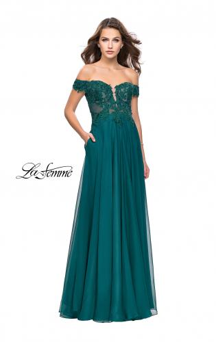 Picture of: Chiffon Prom Dress with Off the Shoulder Lace Top, Style: 25129, Detail Picture 2
