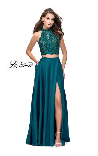 Picture of: Two piece gown with lace up top and satin A line skirt, Style: 25263, Detail Picture 2