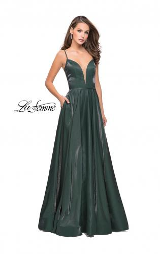 Picture of: Satin A-line Gown with Deep V Sweetheart Neckline, Style: 25670, Detail Picture 2