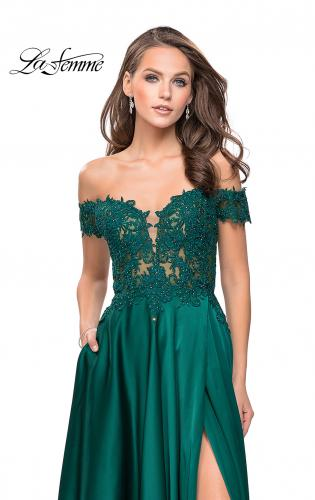 Picture of: A-line Off the Shoulder Satin Dress with Beaded Lace Bodice, Style: 25694, Detail Picture 2