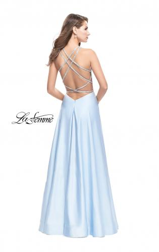 Picture of: Long High Neck Satin Gown with Beaded Strappy Back, Style: 26269, Back Picture