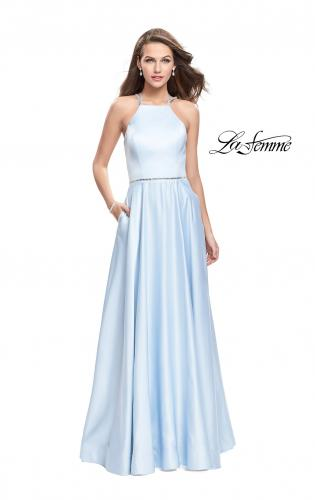 Picture of: Long High Neck Satin Gown with Beaded Strappy Back, Style: 26269, Detail Picture 1