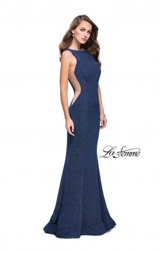 Panoply 14741 This stunning gown has a V-neck cutout bodice that is  encrusted in AB stones. The skirt is a glitter jersey with a sweep train,  and the low