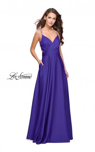 Picture of: Satin A-line Prom Dress with Beading and an Open Back, Style: 25611, Main Picture
