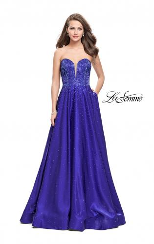 Picture of: Long Strapless Mikado Ball Gown with Beading, Style: 26104, Main Picture
