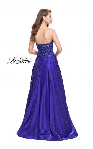 Picture of: Long Strapless Mikado Ball Gown with Beading, Style: 26104, Back Picture