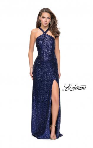 Picture of: Long Sequin Halter Prom Dress with Strappy Back and Slit, Style: 25418, Detail Picture 1