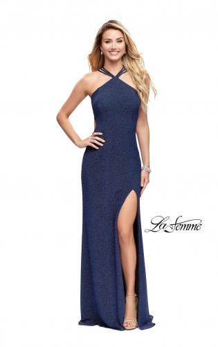 Picture of: Long Sparkly Dress with High Neckline and Side Slit, Style: 25346, Detail Picture 2
