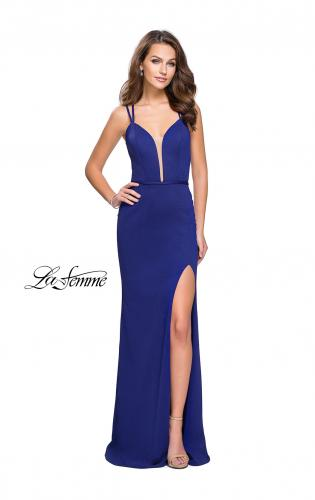 Picture of: Open Strappy Back Long Prom Dress with Deep V, Style: 26023, Detail Picture 2