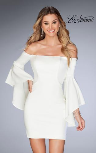 Picture of: Off the Shoulder Ruffle Sleeve Homecoming Dress, Style: 25033, Detail Picture 2