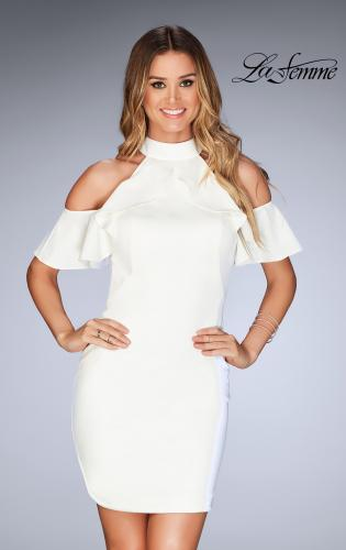 Picture of: Ruffle Halter Top Dress with Tight Jersey Skirt, Style: 25147, Detail Picture 2