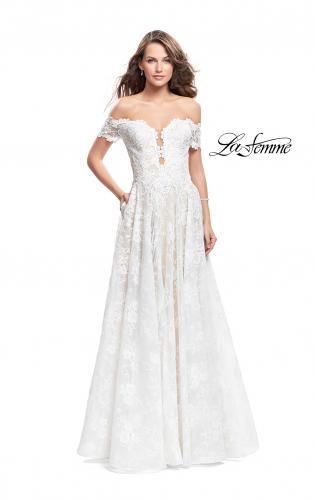 Picture of: Off the Shoulder beaded Lace A-line Prom Dress, Style: 26254, Main Picture