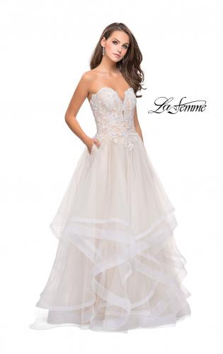 Picture of: Strapless Ruffle Tulle Ball Gown with Beaded Lace Bodice, Style: 25515, Detail Picture 1