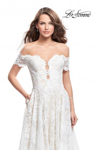 Picture of: Off the Shoulder beaded Lace A-line Prom Dress, Style: 26254, Detail Picture 1
