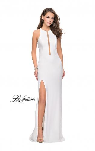 Picture of: Long Jersey Dress with High Neckline and Side Leg Slit, Style: 25477, Detail Picture 2
