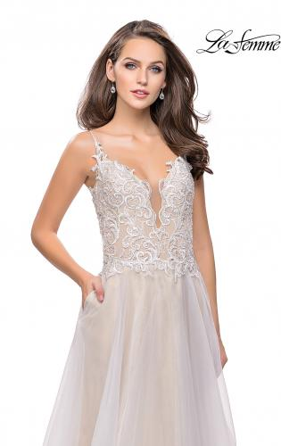 Picture of: A-line Ball Gown with Organza Skirt and Beaded Bodice, Style: 25701, Detail Picture 2