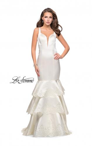 Picture of: Satin Prom Dress with Laser Cut Detail and Tulle Skirt, Style: 25749, Detail Picture 2