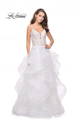 Picture of: Ball Gown with Tulle Skirt and Beaded Lace Bodice, Style: 26148, Detail Picture 2